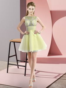 Exceptional Yellow Sleeveless Chiffon Zipper Homecoming Dress for Prom and Party