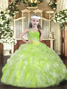 Yellow Green Ball Gowns Beading and Ruffles High School Pageant Dress Lace Up Organza Sleeveless Floor Length