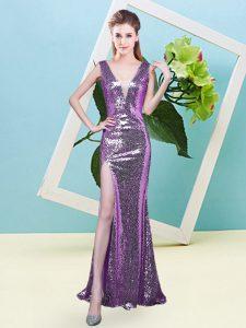 Lavender Mermaid Sequined V-neck Sleeveless Sequins Floor Length Zipper