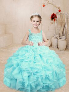 Organza Sleeveless Floor Length Little Girl Pageant Dress and Beading and Ruffles