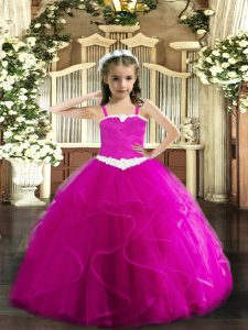 Fashion Straps Sleeveless Tulle Little Girls Pageant Gowns Appliques and Ruffles Lace Up