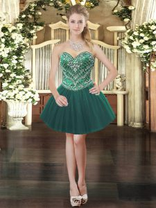 Enchanting Dark Green Tulle Lace Up Sweetheart Sleeveless Mini Length Prom Party Dress Beading