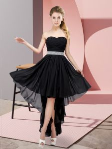 Attractive Black Sweetheart Lace Up Beading Court Dresses for Sweet 16 Sleeveless