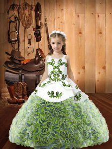 New Arrival Multi-color Little Girls Pageant Gowns Sweet 16 and Quinceanera with Embroidery and Ruffles Straps Sleeveles