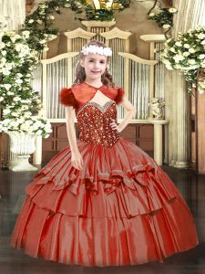 Hot Selling Coral Red Ball Gowns Straps Sleeveless Organza Floor Length Lace Up Beading and Ruffled Layers Little Girls