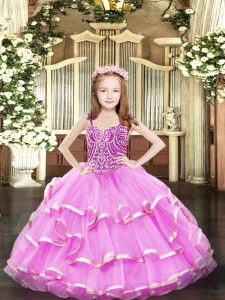 Best Lilac Lace Up Little Girls Pageant Dress Beading and Ruffled Layers Sleeveless Floor Length