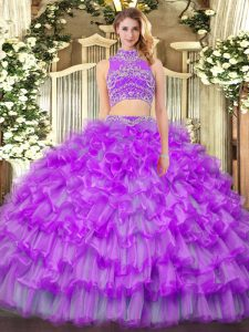 Purple Backless High-neck Beading and Ruffled Layers Vestidos de Quinceanera Tulle Sleeveless