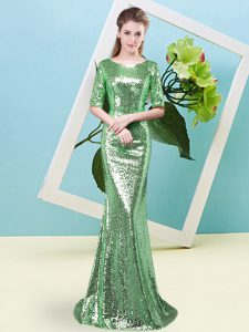 Glamorous Mermaid Evening Dress Green Scoop Sequined Half Sleeves Floor Length Zipper