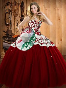 Trendy Sleeveless Embroidery Lace Up Quinceanera Dress