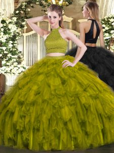 Adorable Olive Green Halter Top Backless Beading and Ruffles Quinceanera Dress Sleeveless