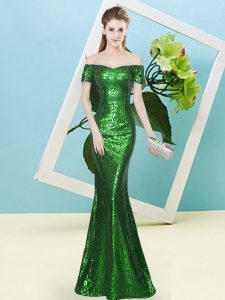 Off The Shoulder Short Sleeves Zipper Homecoming Dress Green Sequined