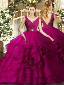 Fuchsia Ball Gowns Organza V-neck Sleeveless Beading and Ruffles Floor Length Backless Sweet 16 Dress
