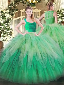 Organza Sleeveless Floor Length Sweet 16 Dresses and Ruffles