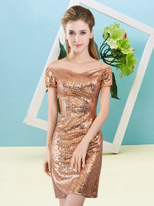 Orange Zipper Homecoming Dress Sequins Short Sleeves Mini Length