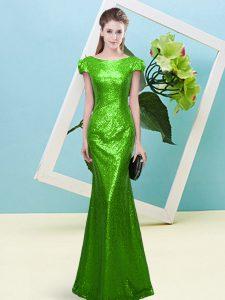 Luxury Zipper Dress for Prom Sequins Cap Sleeves Floor Length