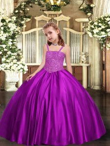 Purple Ball Gowns Straps Sleeveless Satin Floor Length Lace Up Beading Child Pageant Dress
