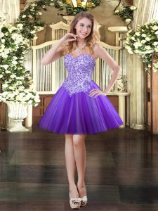 Purple Ball Gowns Tulle Sweetheart Sleeveless Appliques Mini Length Lace Up Prom Evening Gown