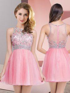 Rose Pink Tulle Zipper Prom Gown Sleeveless Mini Length Beading