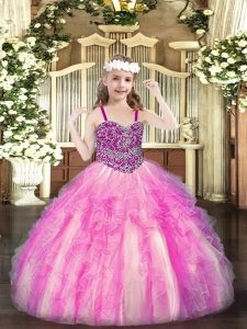 Rose Pink Little Girl Pageant Gowns Party and Quinceanera with Beading and Ruffles Straps Sleeveless Lace Up