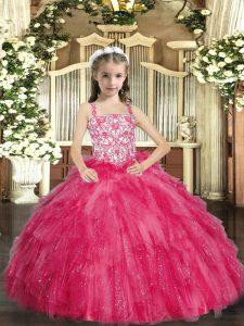 Customized Organza Sleeveless Floor Length Little Girl Pageant Dress and Beading and Ruffles