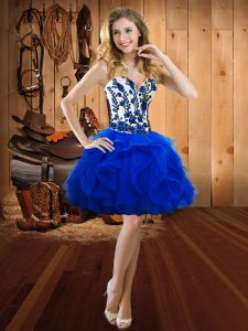 Stylish Organza Sweetheart Sleeveless Lace Up Embroidery and Ruffles Prom Gown in Royal Blue