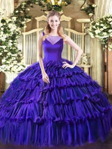 Sleeveless Side Zipper Floor Length Beading and Ruffled Layers Sweet 16 Dresses
