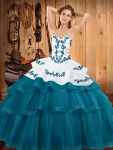 Clearance Teal Sleeveless Embroidery and Ruffled Layers Lace Up Quince Ball Gowns