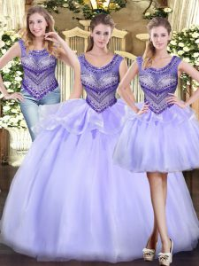 Customized Scoop Sleeveless Lace Up Quinceanera Dress Lavender Tulle