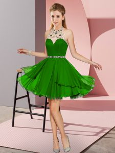 Unique Green Halter Top Zipper Beading Prom Dresses Sleeveless