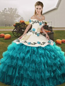 Sleeveless Floor Length Embroidery and Ruffled Layers Lace Up Sweet 16 Dress with Teal