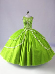 Vintage Sleeveless Beading and Appliques Floor Length 15 Quinceanera Dress