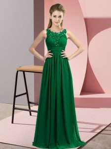 Amazing Chiffon Scoop Sleeveless Zipper Beading and Appliques Quinceanera Court of Honor Dress in Dark Green