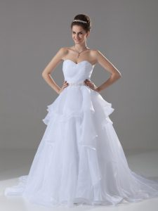 White Lace Up Sweetheart Beading and Ruffles Bridal Gown Organza Sleeveless Brush Train