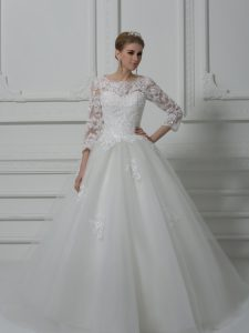 Pretty White 3 4 Length Sleeve Tulle Brush Train Lace Up Wedding Gowns for Wedding Party