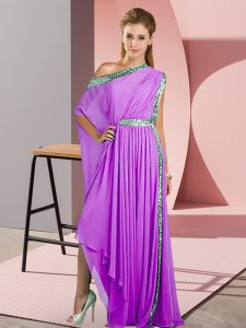 Enchanting Lavender Side Zipper Homecoming Dress Sequins Sleeveless Asymmetrical