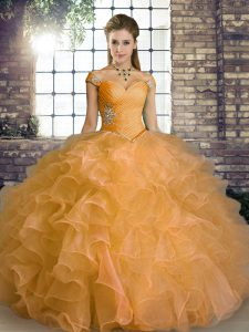 Orange Sleeveless Floor Length Beading and Ruffles Lace Up Quince Ball Gowns