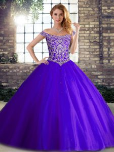 Excellent Purple Quinceanera Gown Military Ball and Sweet 16 and Quinceanera with Beading Off The Shoulder Sleeveless Br