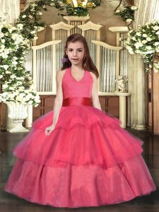 Coral Red Ball Gowns Ruffled Layers Little Girls Pageant Dress Lace Up Organza Sleeveless Floor Length
