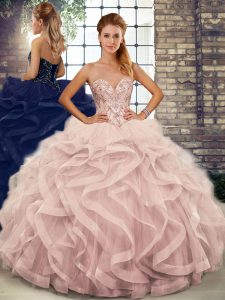 Fashion Pink Quinceanera Dress Military Ball and Sweet 16 and Quinceanera with Beading and Ruffles Sweetheart Sleeveless