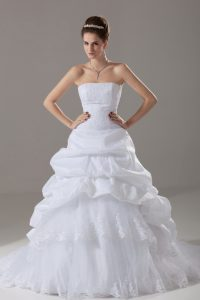 White A-line Lace and Pick Ups Wedding Gown Lace Up Taffeta and Tulle Sleeveless