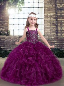 Simple Fuchsia Ball Gowns Organza Straps Sleeveless Beading and Ruffles Floor Length Lace Up Little Girls Pageant Gowns