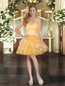 Extravagant Gold Sleeveless Organza Lace Up Evening Dress for Prom and Party