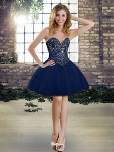 Free and Easy Navy Blue Sweetheart Lace Up Beading Prom Gown Sleeveless