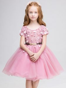 High Quality Pink Lace Up Toddler Flower Girl Dress Lace and Belt Short Sleeves Mini Length