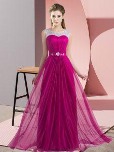 Fuchsia Lace Up Bridesmaid Gown Beading Sleeveless Floor Length