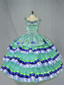 Discount Floor Length Apple Green Sweet 16 Dresses Organza Sleeveless Embroidery and Ruffled Layers