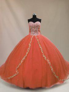 Custom Made Orange Quinceanera Gown Tulle Brush Train Sleeveless Beading