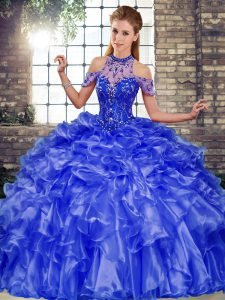 Latest Blue Halter Top Lace Up Beading and Ruffles Quinceanera Dresses Sleeveless