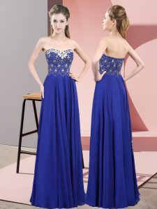 Amazing Royal Blue Zipper Sweetheart Beading Dress for Prom Chiffon Sleeveless