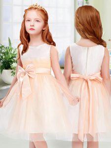 Most Popular Peach Scoop Neckline Bowknot Flower Girl Dresses for Less Sleeveless Zipper